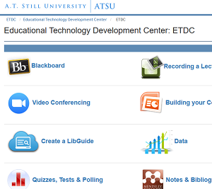 Screenshot of the ETDC website