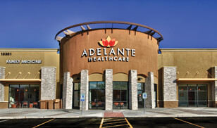 Image of front of entrance to ATSU Adelante Community Healthcare Clinic in Surprise, AZ