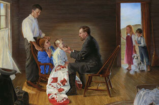 Painting depicting Andrew Taylor Still, DO, treating child, with family behind her