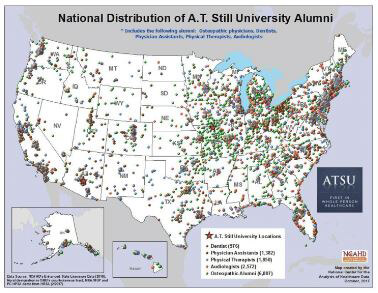 National Distribution of ATSU alumni by degree awarded
