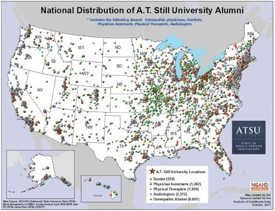 About At Still University - Map-of-us-medical-schools