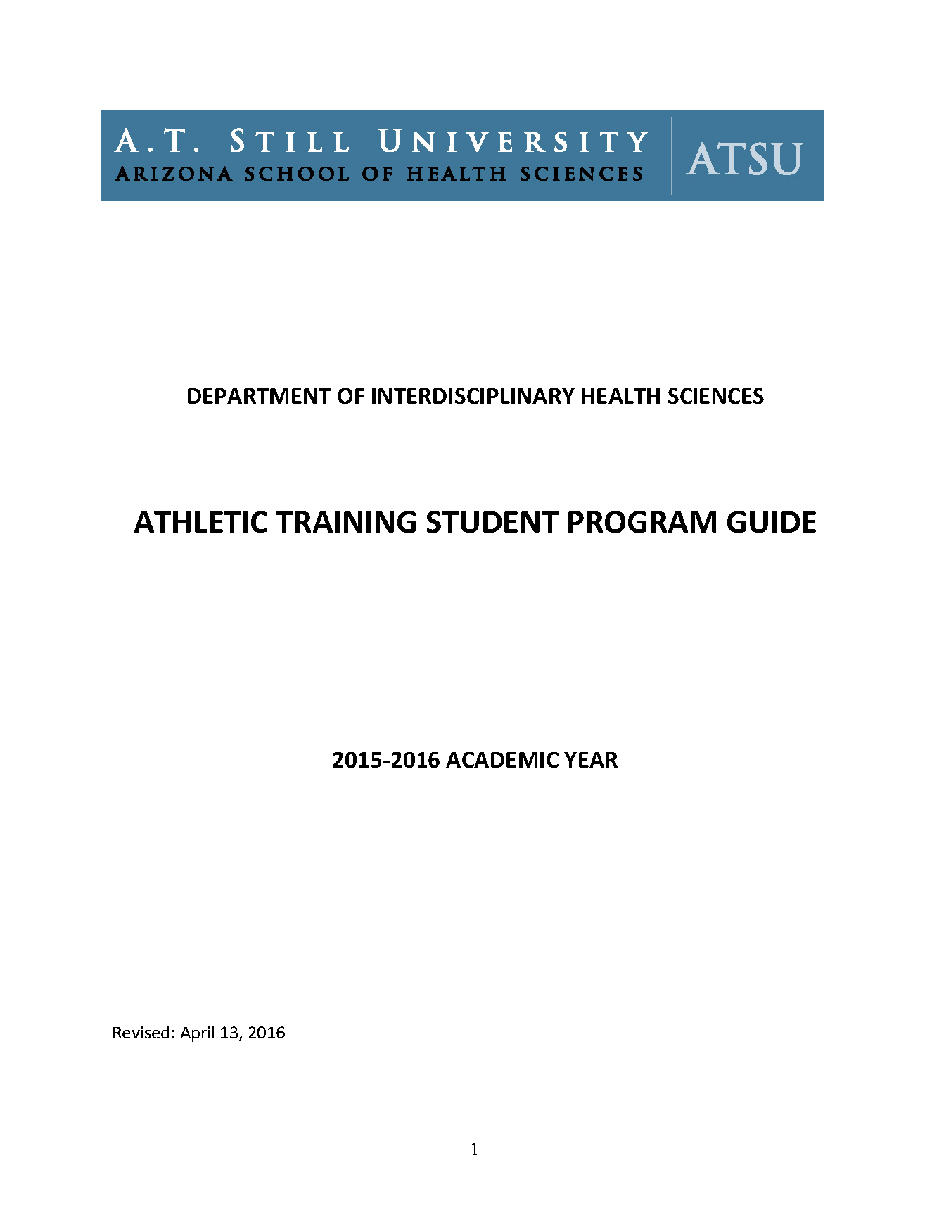 Master Of Science In Athletic Training