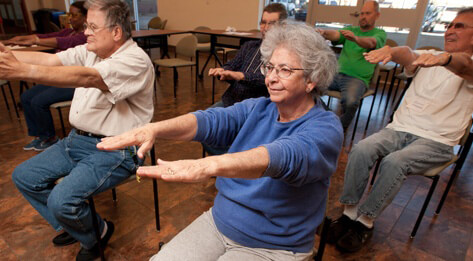 Image of geriatric patients exercising during a Still Standing course.