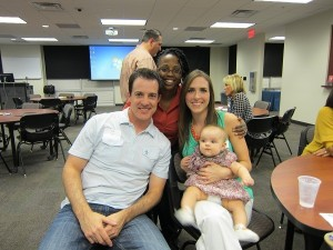 From left to right: Jeff Thorne, Makkeda Rubin-Deloney and Jessica Thorne (plus baby Thorne), DPT '09.