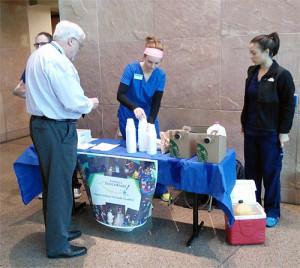 Randy Danielsen, PhD, PA-C, DFAAPA, dean, A.T. Still University's Arizona School of Health Sciences supports the cause at the SUAT breakfast fundraiser.