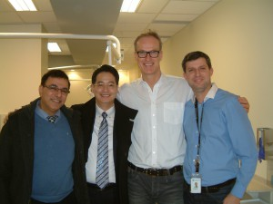 From left: Dr. Tarek Elbialy (University of Alberta), Dr. Jae Park, Dr. Benedict Wilmes (professor from Germany), and Carlos Flores Mir (Department Chair at the University of Alberta)