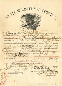Dr. Still's enlistment record shows he served in the Union Army. He was as a hospital steward in the 9th Kansas Cavalry, a captain in the 18th Kansas Militia, and a major in the 21st Kansas Militia. Museum of Osteopathic Medicine [2009.10.941]