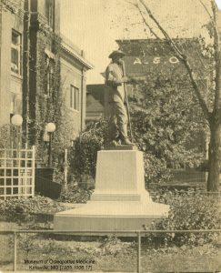 Dr. Still's statue stands in its original location in front of the ASO hospital. Museum of Osteopathic Medicine [1985.1006.17]