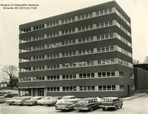 The Timken-Burnett Research Building was completed in 1963. Museum of Osteopathic Medicine [2010.02.1120]