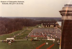 The TCC holds an outdoor event in 1987. Museum of Osteopathic Medicine [2011.50.53.63]