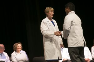 Dr. Wilson welcomes new ATSU-KCOM students each year at the annual White Coat Ceremony.