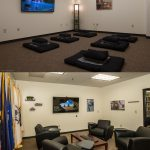 Meditation and Reflection Room pictured on top, and Military and Veteran Room pictured on bottom.