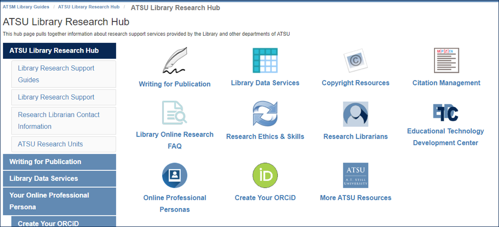 screenshot of research hub from the A.T. Still Memorial Library