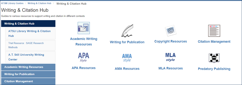 screenshot of writing & citation hub from the A.T. Still Memorial Library