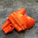 3D printed red heart with ATSU logo