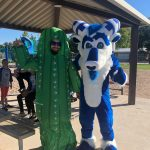 Bucky the Ram of Reason with an inflated cactus at a Mesa parks event