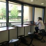 new desk bikes in the library