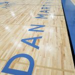 Dan Martin Court lettering on new gym floord