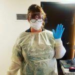 Tessa Tibben wearing PPE in a clinic