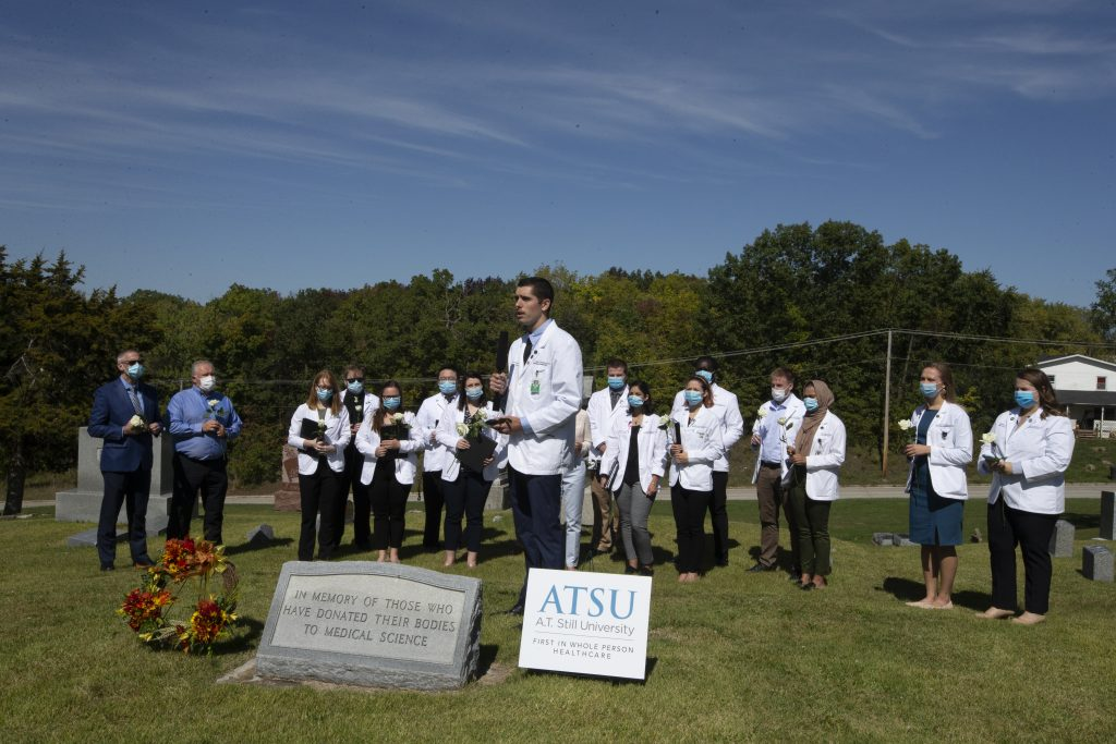 ATSU-KCOM student Jacob Speechley, OMS II, speaks during the Gift of Body ceremony.