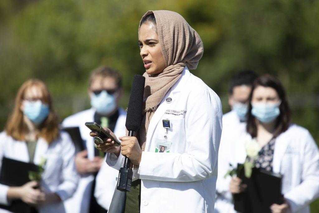 Samah Raheem, OMS II, of the Muslim Student Association