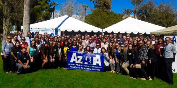 Athletic training students gather for a group photo