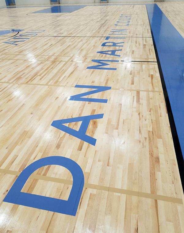 Dan Martin Court lettering on new gym floord