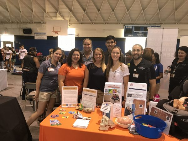 Athletic training students at a back to school fair