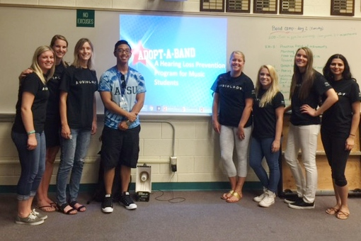 ATSU Audiology program students Adopt-A-Band - promote hearing protection
