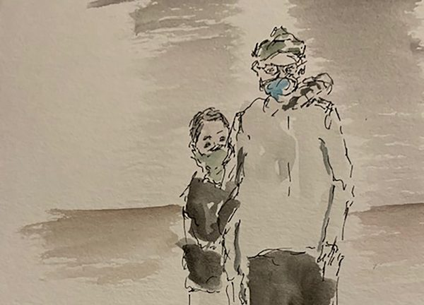 sketch of patients wearing masks