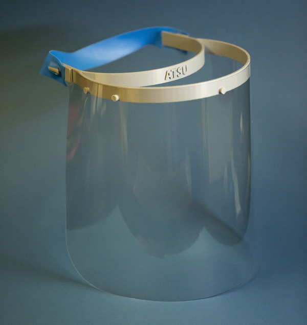 face shield with ATSU embossed