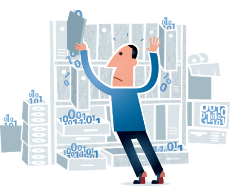 Illustration of man trying to organize data on a shelf